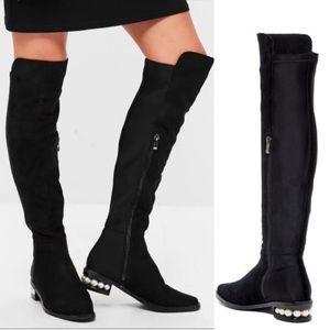 CATHERINE MALANDRINO Suede OTK Pearl Heel Boot